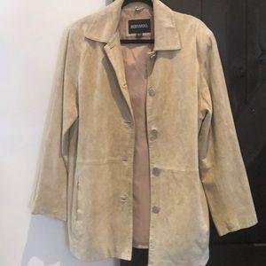 Bernardo Suede Leather Coat/Jacket Size Large.